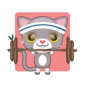 Cartoon kitten doing sport — Stock Vector