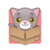 Roztomilý šedé kotě — Stock vektor