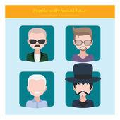 Hommes avec style les cheveux faciaux — Vecteur