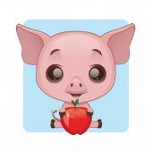Cute pig holding an apple — Stock Vector