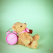 Retro and vintage style of Old fashioned alarm clock and cute doll — Stock Photo