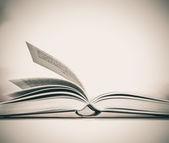 ヴィンテージと白い背景で開かれた本のレトロなトーン — ストック写真
