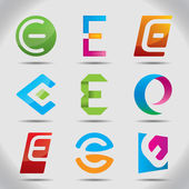 Vector illustration of abstract icons or logos based on the letter E — Stock Vector