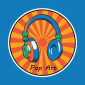 Pop art music headphones image. Design for advertising, branding, t-shirt etc. EPS10 vector — Stock Vector