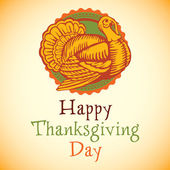 Beautiful, colorful label of turkey bird for Happy Thanksgiving celebration, can be use as flyer, poster or banner. — Wektor stockowy