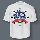 Sea wolves logo inside sea steering wheel and ribbon t-shirt design. EPS10 vector — Stock Vector