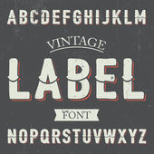 Vintage label font with sliced at center letters and red shadow on dusty noise background — Stock Vector