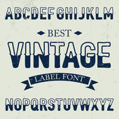 Vintage label font with two color sliced at center letters on dusty noise background — Stock Vector