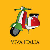 Viva Italia illustration with 3d style scooter — Stock Vector