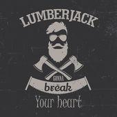Vintage lumberjack logo label — Stock Vector