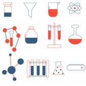 Vector set of icons on a theme Laboratory — Stock Vector