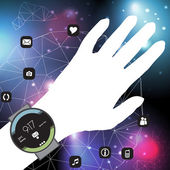 Concept of Smart Watch On a Hand with Mobile App Icons in a Net - Vector Illustration — Stock Vector