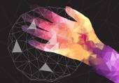 Hand Holding a Net Sphere, Social network - Vector Illustration — Stock Vector