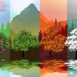 Four Seasons Banners with Abstract Forest and Mountains, Lake Reflection - Vector Illustration — Stock Vector