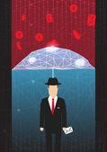 Antivirus and Firewall Umbrella Concept - Vector Illustration — Stock Vector