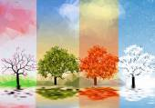 Four Seasons Banners with Trees and Lake Reflection - Vector Illustration — Stock Vector