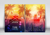Summer Vacation Flyer Design with Palm Trees and Paradise Island - Vector Illustration — Stock Vector