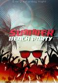 Summer Beach Party Flyer Template - Vector Illustration — Stok Vektör