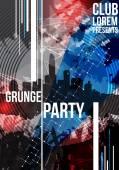 Grunge Dance party design template - Vector Illustration — Stock Vector