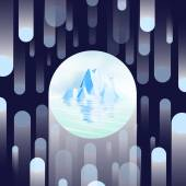 Iceberg with Reflection on Flying Dot Pattern - Vector Illustration — Stock Vector