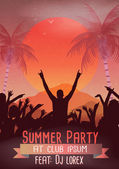 Retro Summer Beach Party Flyer - Vector Illustration — Vector de stock