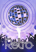 Retro Disco Party Poster Background Template - Vector Illustration — Stock Vector