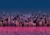 Modern City Skyline Landscape at Night with Skyscraper Offices and Reflection in Water - Vector Illustration — Vector de stock