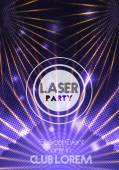 Laser Disco Party Poster Background Template - Vector Illustration — Stock Vector