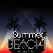 Retro Summer Beach Party Summer Calligraphic Designs with Palm Trees - Vector Illustration — 图库矢量图片