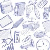 Office Set Doodle — Stock Vector