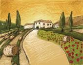 Tuscany Land — Stock Vector