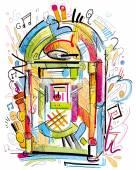 Colorful Jukebox — Vecteur