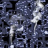 Overheated circuit board — Stock Photo