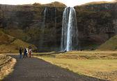 People at seljalandsfoss waterfall — Stock Photo