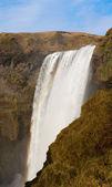 River fall in skogafoss waterfall and rainbow — Stock Photo