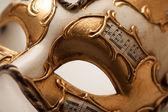 Golden carnival mask close up — Foto de Stock