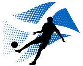 Scotland soccer player against national flag — Stock Vector
