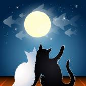 Dreaming cats on a roof — Stock Vector