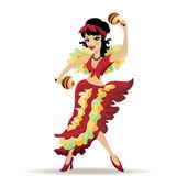 Latina beautiful girl dancing with maracas — Stock Vector