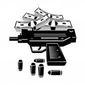 Pistole und geld — Stockvektor