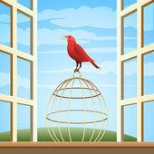 Bird on a Cage — Stock Vector