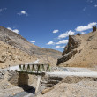 Small metall bridge across river in mountains of Ladakh — Stock Photo #59699097