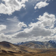 Beautiful view to dry Ladakh mountains with snow and clouds over it — Stock Photo #59699261