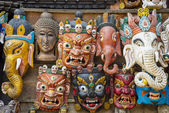 Masks in the giftshop in Nepal — Stock Photo