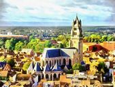 Medieval church among buildings aerial view illustration — Stock Photo