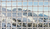 Looking through frozen mesh to winter Alps — Stock Photo