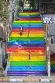 Rainbow steps in bohemian neighborhood — Zdjęcie stockowe