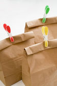 Paper bag composition closeup — Stock Photo