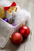 Little New year tree toys in the box  — Stok fotoğraf