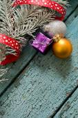 Little New year tree toys on the wood backing — Stock Photo